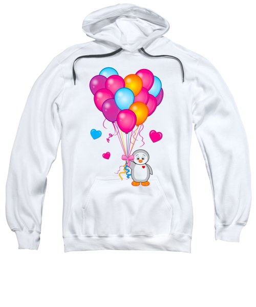 Baby Penguin With Heart Balloons Sweatshirt by A