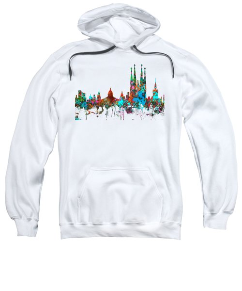 Barcelona Spain Skyline Sweatshirt by Marlene Watson