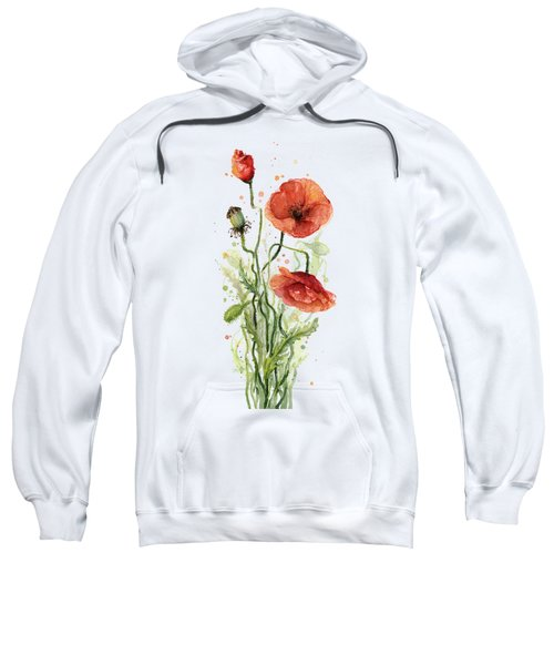 Red Poppies Watercolor Sweatshirt