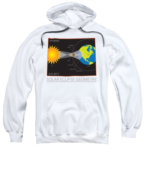 2017 Solar Eclipse Geometry Wyoming State Map Illustration Sweatshirt