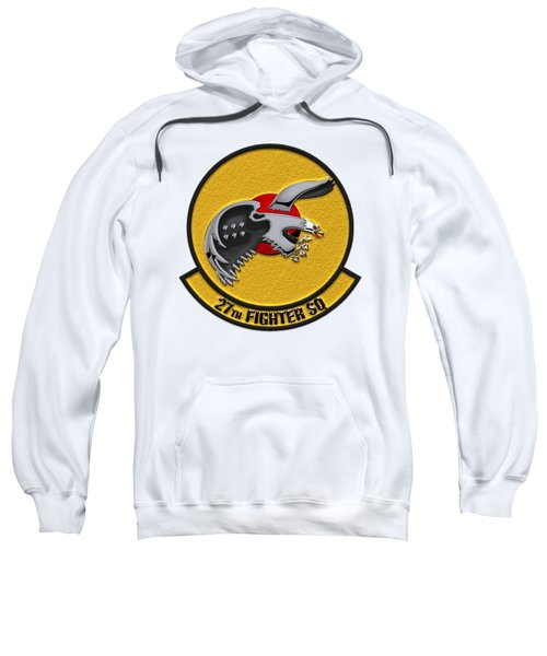 27th Fighter Squadron - 27 Fs Patch Over White Leather Sweatshirt by Serge Averbukh