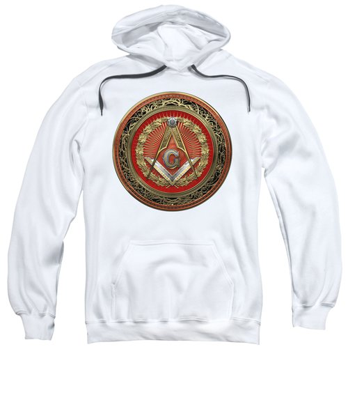 3rd Degree Mason Gold Jewel - Master Mason Square And Compasses Over White Leather Sweatshirt