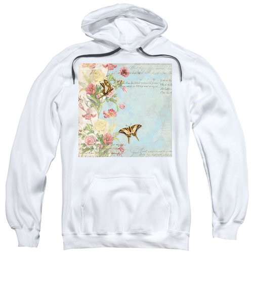 Fleurs De Pivoine - Watercolor W Butterflies In A French Vintage Wallpaper Style Sweatshirt