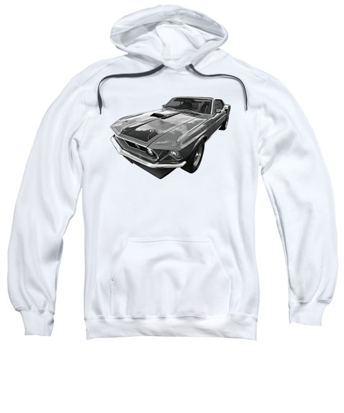 428 Cobra Jet Mach1 Ford Mustang 1969 In Black And White Sweatshirt