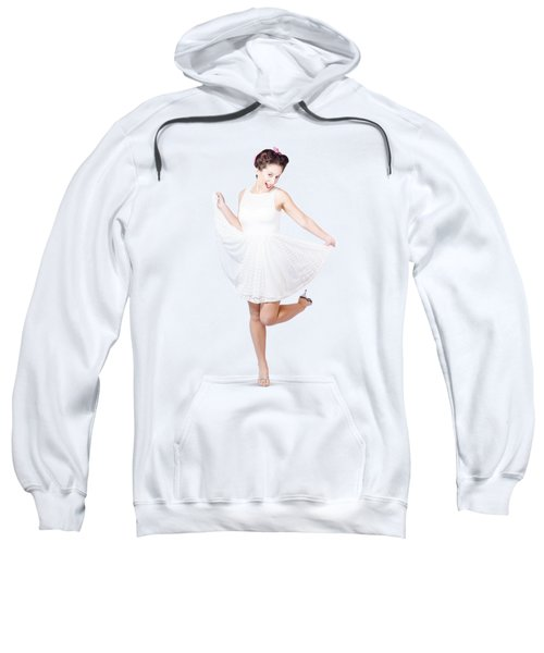 50s Pinup Woman In White Dress Dancing Sweatshirt