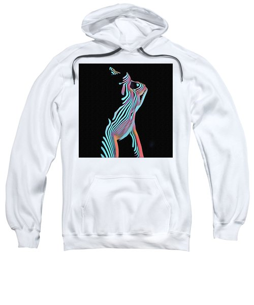 Sweatshirt featuring the digital art 5291s-mak Nude Female Torso Rendered In Composition Style by Chris Maher