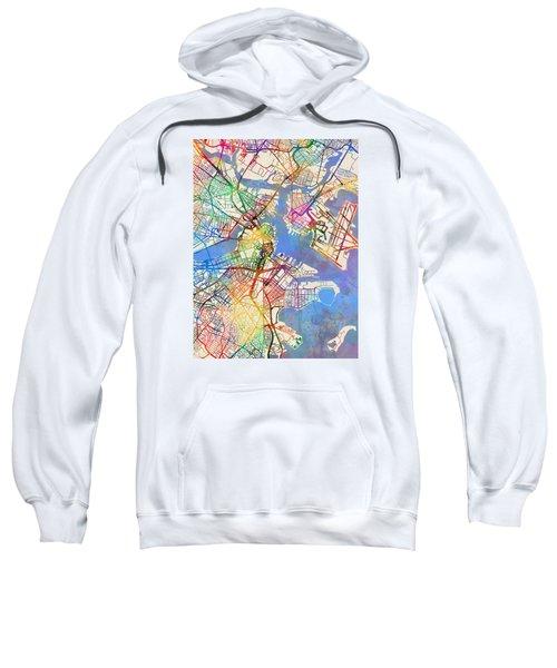 Boston Massachusetts Street Map Sweatshirt