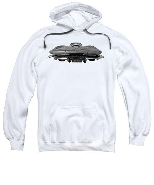 66 Vette Stingray In Black And White Sweatshirt