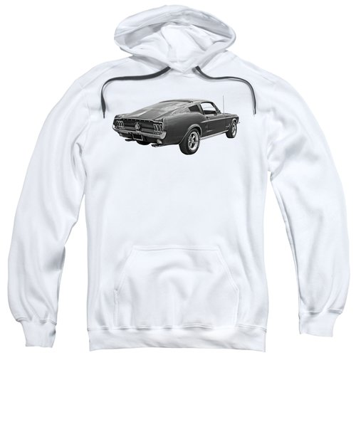67 Fastback Mustang In Black And White Sweatshirt