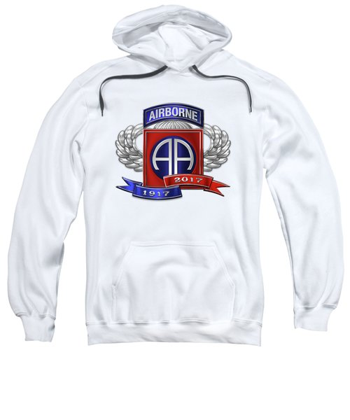 82nd Airborne Division 100th Anniversary Insignia Over White Leather Sweatshirt