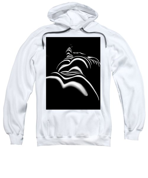 Sweatshirt featuring the photograph 8903-slg Zebra Woman Shoulders And Back Sensual Nude Abstract Black White Stripe By Chris Maher  by Chris Maher
