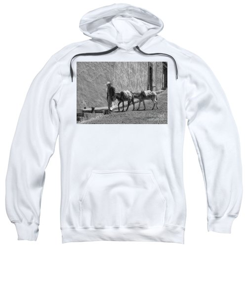 A Man With Two Burros Sweatshirt