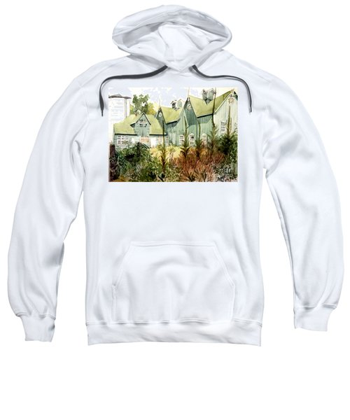 Watercolor Of An Old Wooden Barn Painted Green With Silo In The Sun Sweatshirt