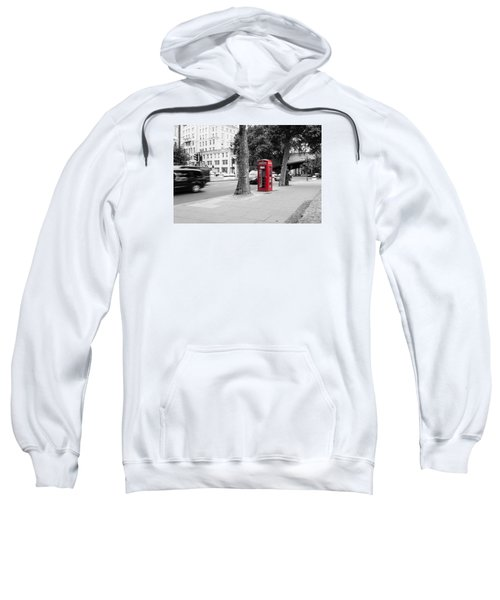 A Single Red Telephone Box On The Street Bw Sweatshirt
