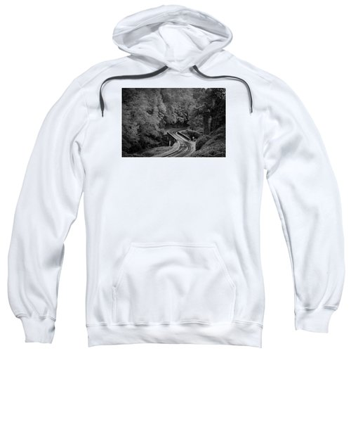 A Wet And Twisty Road Through The Blue Ridge Mountains In Black And White Sweatshirt