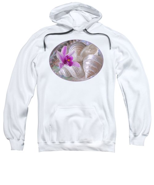 Abalone With Pearl Shells And Purple Orchid Sweatshirt