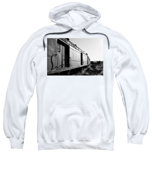Sweatshirt featuring the photograph Abandoned Train Cars by Stephen Holst
