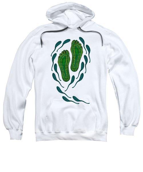 Aboriginal Footprints Green Transparent Background Sweatshirt