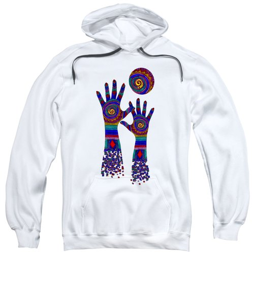 Aboriginal Hands Blue Transparent Background Sweatshirt