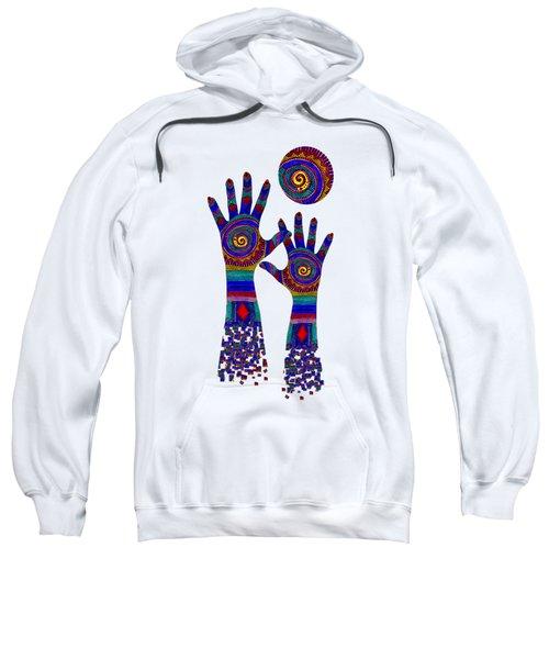 Aboriginal Hands Blue Transparent Background Sweatshirt
