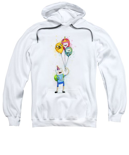 Adventure Time Finn With Birthday Balloons Jake Princess Bubblegum Bmo Sweatshirt by Olga Shvartsur