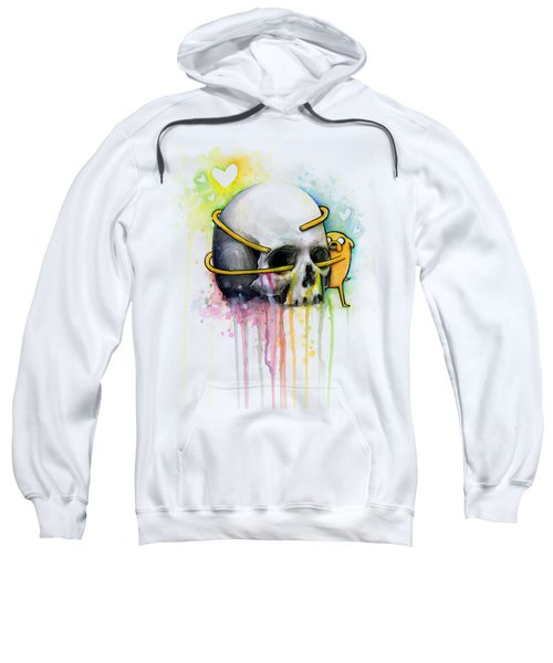 Adventure Time Jake Hugging Skull Watercolor Art Sweatshirt