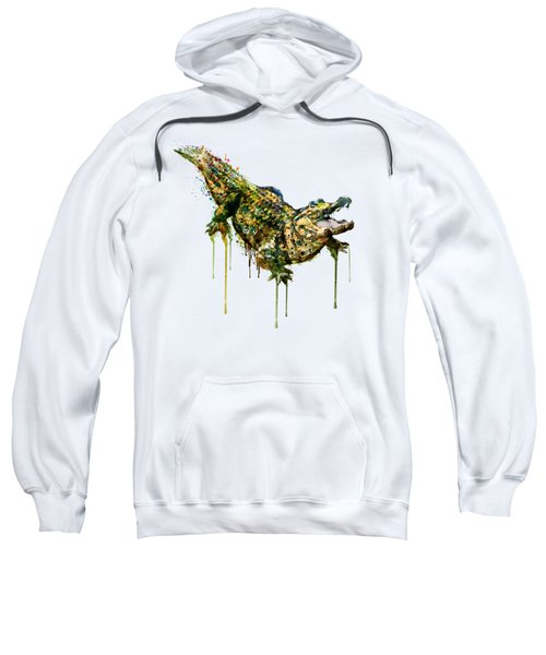 Alligator Watercolor Painting Sweatshirt by Marian Voicu