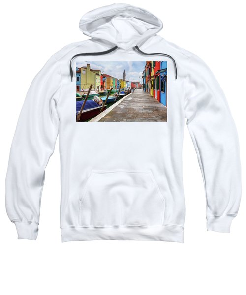 Sweatshirt featuring the photograph Along The Canal In Burano Island by Evgeni Dinev