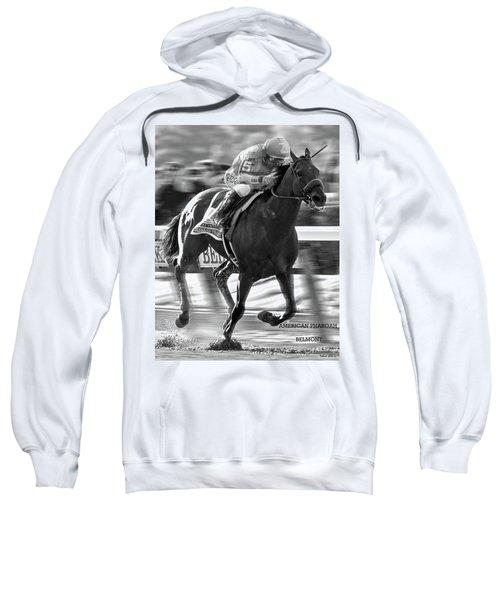 American Pharoah And Victor Espinoza Win The 2015 Belmont Stakes Sweatshirt by Thomas Pollart