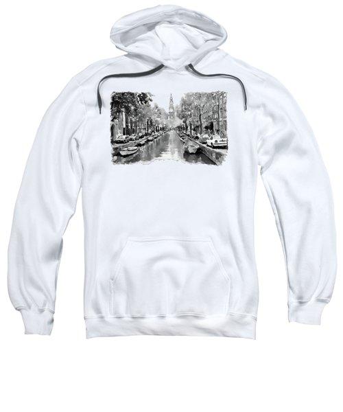 Amsterdam Canal 2 Black And White Sweatshirt