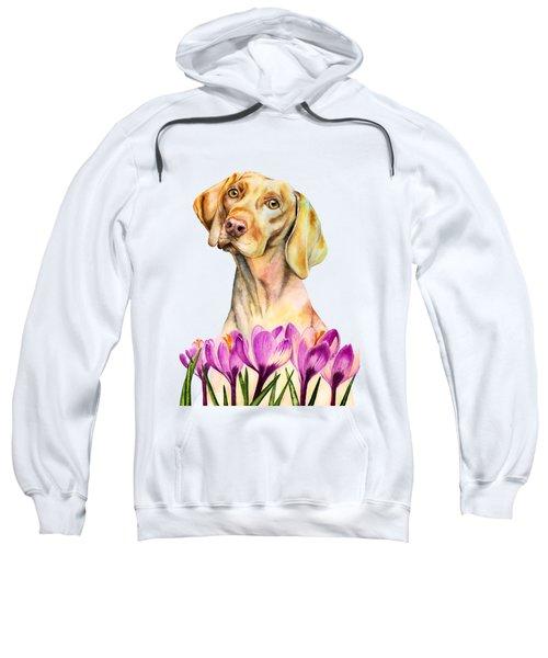 Angelic - Vizsla Dog And Crocus Watercolor Painting Sweatshirt