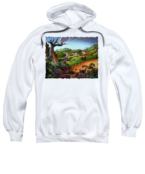 Appalachian Fall Thanksgiving Wheat Field Harvest Farm Landscape Painting - Rural Americana - Autumn Sweatshirt