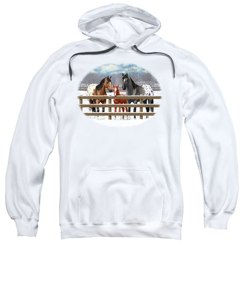 Appaloosa Horses In Winter Ranch Corral Sweatshirt