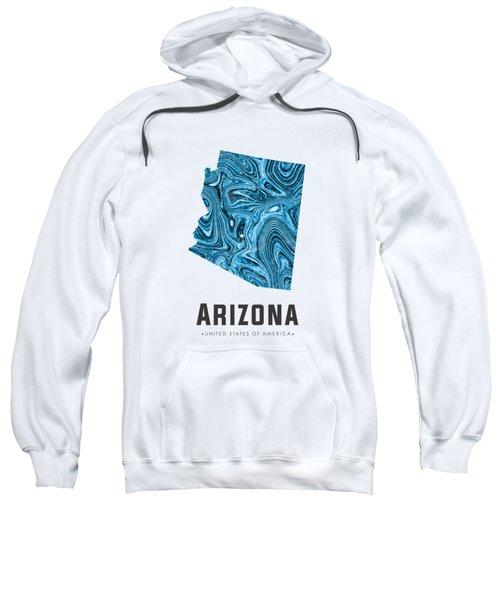 Arizona Map Art Abstract In Blue Sweatshirt