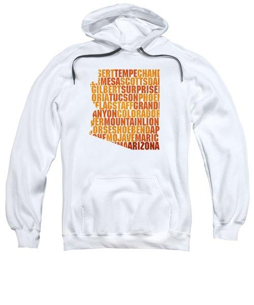Arizona State Outline Word Map Sweatshirt by Design Turnpike