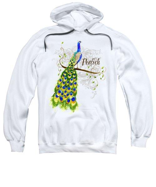 Art Nouveau Peacock W Swirl Tree Branch And Scrolls Sweatshirt by Audrey Jeanne Roberts