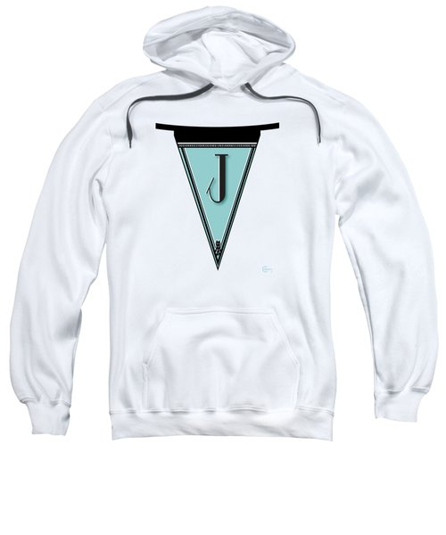 Pennant Deco Blues Banner Initial Letter J Sweatshirt by Cecely Bloom