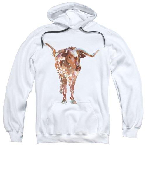 The Original Longhorn Standing Earth Quack Watercolor Painting By Kmcelwaine Sweatshirt