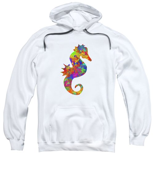 Seahorse Watercolor Art Sweatshirt by Christina Rollo