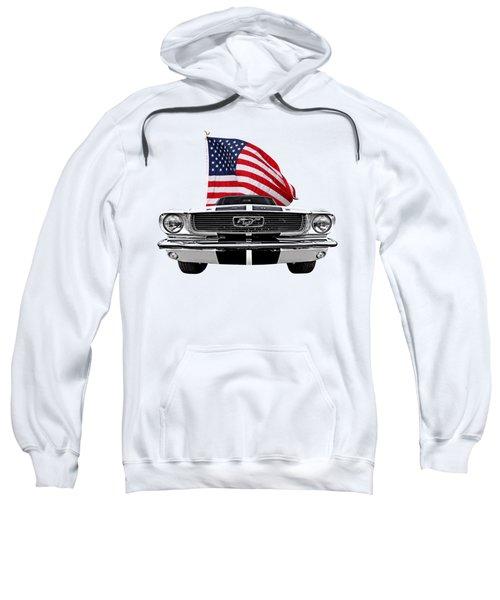 Patriotic Mustang On White Sweatshirt