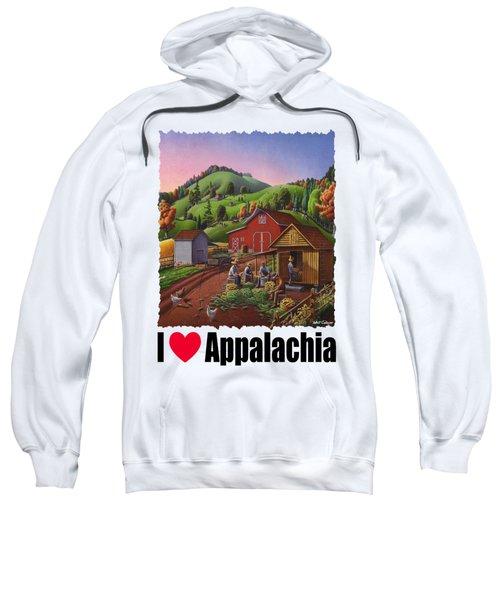 I Love Appalachia - Farmers Shucking Corn And Storing In Corncrib - Corn Crib Sweatshirt