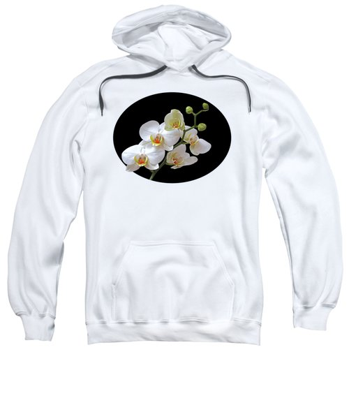 Orchids On Black And Gold Sweatshirt by Gill Billington