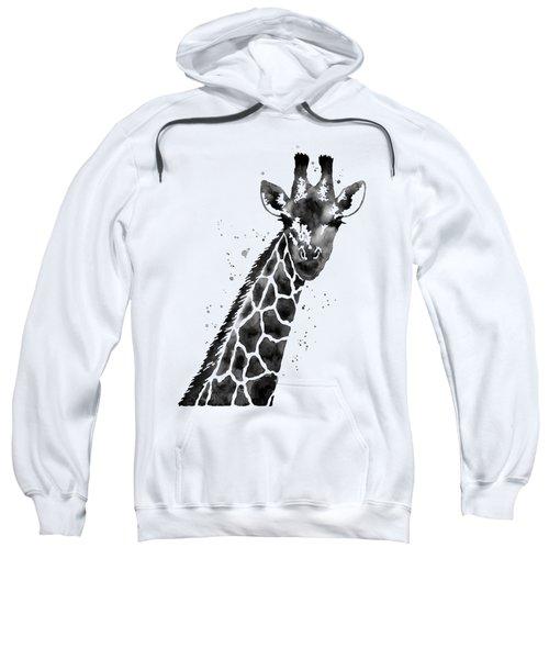 Giraffe In Black And White Sweatshirt by Hailey E Herrera