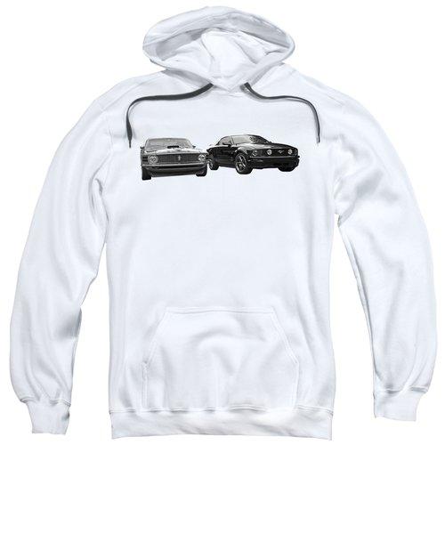 Mustang Buddies In Black And White Sweatshirt