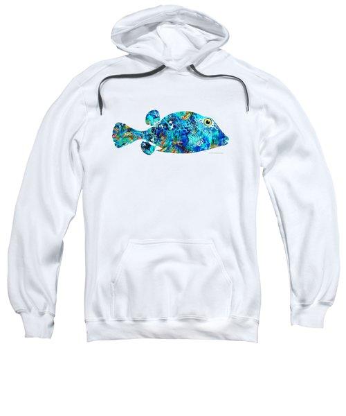 Blue Puffer Fish Art By Sharon Cummings Sweatshirt
