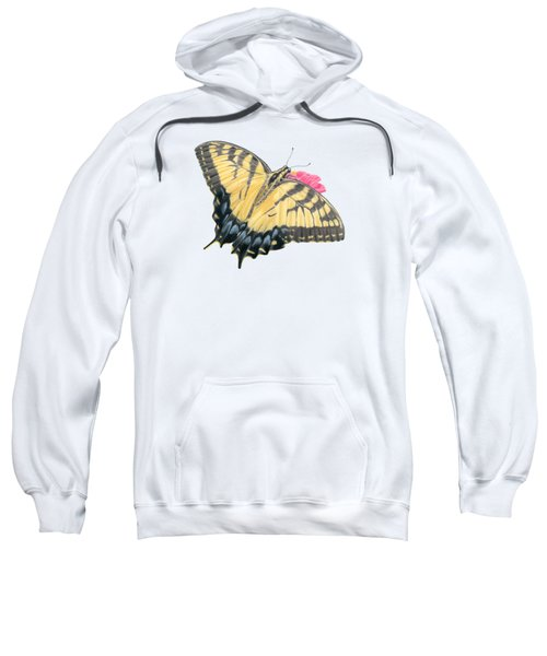 Swallowtail Butterfly And Zinnia- Transparent Backgroud Sweatshirt