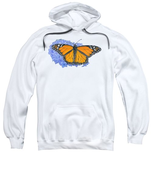 Monarch Butterfly And Hydrangea- Transparent Background Sweatshirt