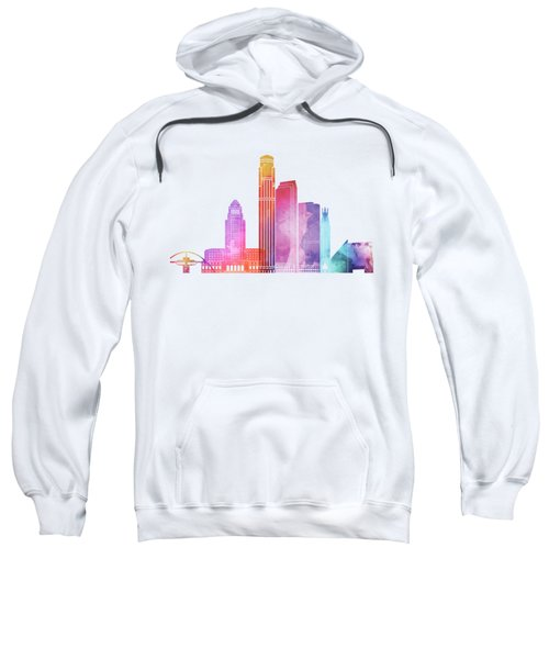 Los Angeles Landmarks Watercolor Poster Sweatshirt by Pablo Romero