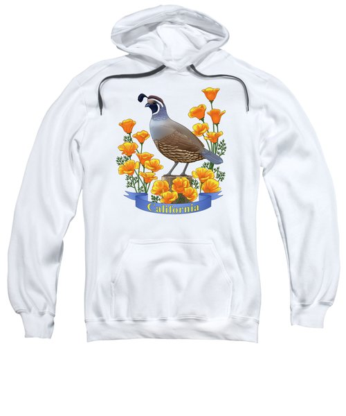 California Quail And Golden Poppies Sweatshirt