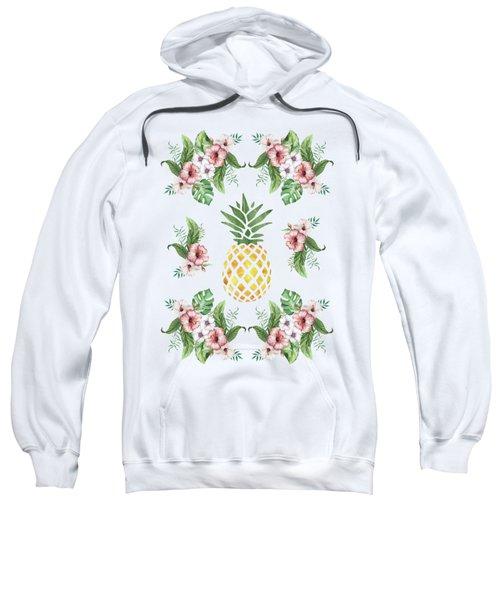 Exotic Hawaiian Flowers And Pineapple Sweatshirt